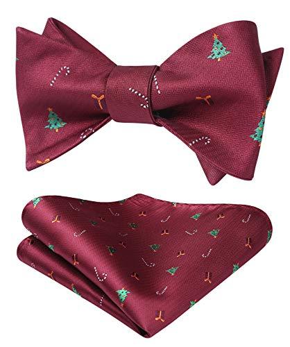 HISDERN Uomo Natale Regalo dell'albero Festa tessuta Se stesso Cravatta a farfalla Pocket Square Set