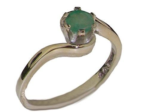 LBG 14ct White Gold Natural Emerald Womens Engagement Ring - Size W