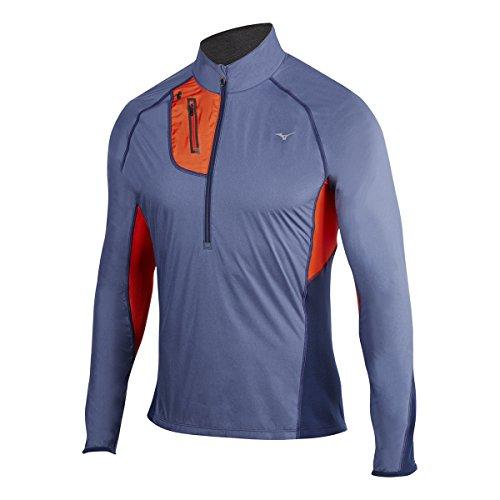 Mizuno Running Herren Thermo-Windtop mit halbem Reißverschluss, Herren, Medievel Blue-orange, Medium