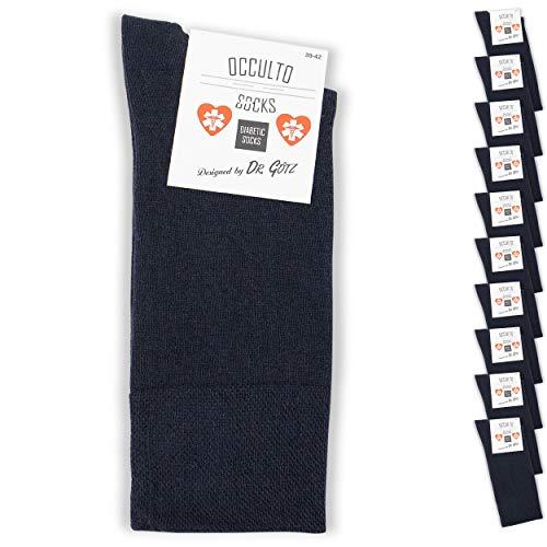 Occulto 10 bis 20 Paar Diabetikersocken für Herren und Damen, Socken ohne Gummi ohne Naht für Herren, Herrensocken Damensocken ohne Gummibund 43-46 Navy