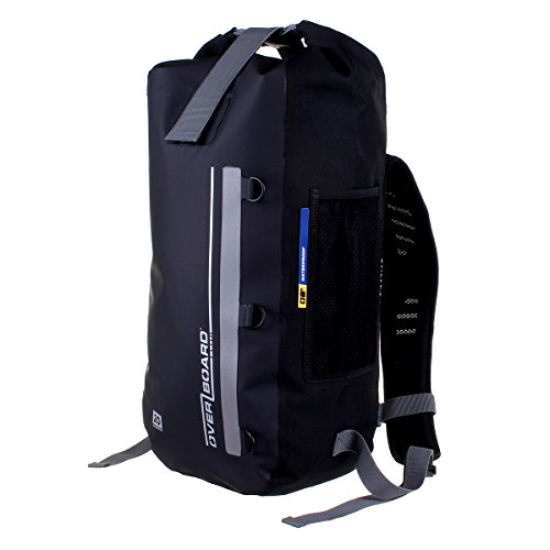 OverBoard Classic Waterproof Backpack | 30 Litre Floating Pack | 100% Waterproof Dry Bag with Top Fold Seal System (Black)
