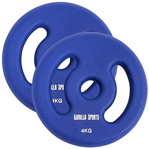 GORILLA SPORTS® Hantelscheiben-Set Neopren 30/31 mm Bohrung – 2er-Set Gewichte mit Griffen Gusseisen 8 kg - 2 x 4 kg