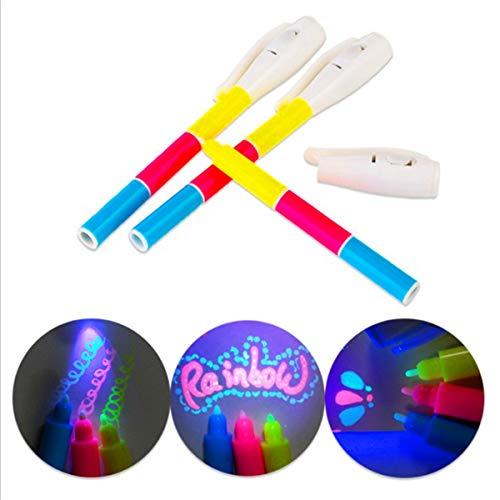 S-TROUBLE Magic 3 Colores UV Fluorescent Pen Light Combo Papelería Creativa Invisible Ink Pen Stationery Office School Supplies Secret DIY