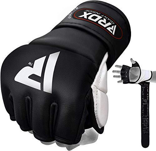 RDX unisex MMA handschoenen professionele vechtsport bokszak sparring freefight rundleer grappling handschoenen zandzak training bokshandschoenen - zwart - medium