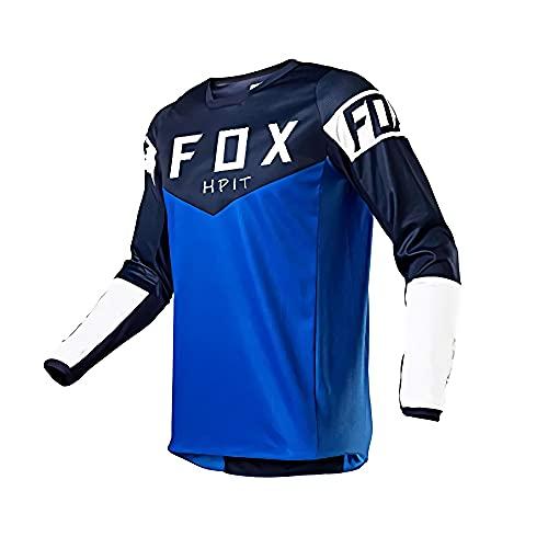 MTB Jersey T Shirt, MTB Jersey Fox Longsleeve, MTB Jersey Camisetas para Hombres, Motocicleta Downhill Jersey MTB Offroad Bicicleta Locomotora Camiseta Hpit Fox Jersey Cross Country Mountain, M