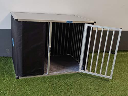 Callieway® ALU DOGBOX/Hundebox/ALU Hundkäfig für Büro und Daheim (nur vertikale Stäbe) (XXLarge: 109cm (L;Türseite), 74cm (B), 77cm (H)