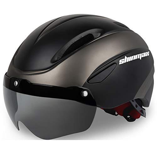 Shinmax Casco Bici, Certificato CE Casco Bicicletta con Occhiali Magnetici Rimovibili Scudo Protettivo per Uomo Donna Montagna Strada Protezione di Sicurezza Regolabile per Adulti Sci Snowboard NR-010