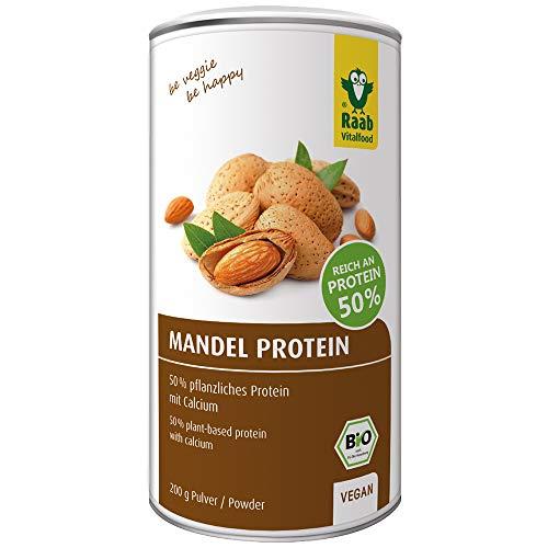 Raab Vitalfood Bio Mandel-Protein mit natürlichem Calcium, teilentölt, vegan, glutenfrei, Eiweiß-Shake; Mandel-Mehl, Mandeldrink 50% Protein, 200 g