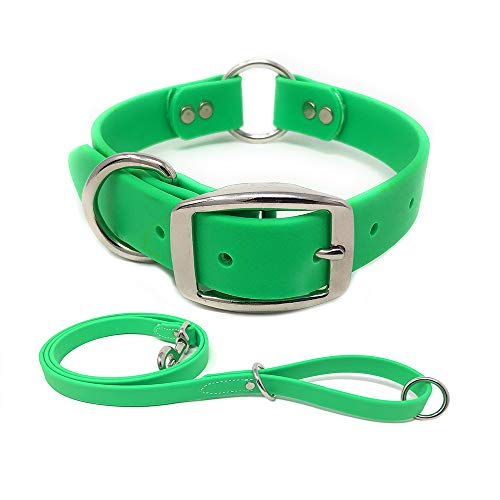 Green Waterproof Heavy Duty Dog Collar and Leash - Custom Fit Vinyl-Coated Webbing Water Resistant, Anti Odor and Easy to Clean Dog Collar with Double Buckle and D Ring for Medium Dogs