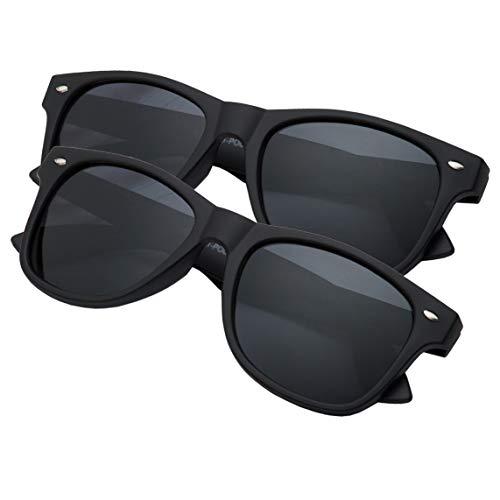 grinderPUNCH Men's Polarized Sunglasses - Flat Matte Frames (2 Pack - Black, 53)