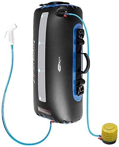 ZHUYU Solardusche Tasche, 5 Gallonen / 20L tragbare Camping Dusche Solarheizung Tasche mit Dusche-Schlauch-Düse, Fuß-Typ Luftpumpe, for Outdoor-Reisen Wandern (Farbe: 20L)