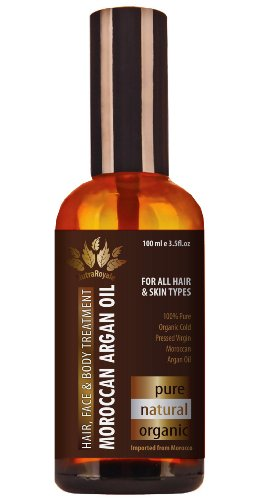 Moroccan Argan Oil - 100% Pure Virgin Organic Cold-pressed, 3.5 Oz, Best for Hair Face and Skin Care, Dry Damaged Hair Moisturizer Conditioner - Anti Aging Wrinkle Repair Cream - All Natural Growth Serum, Light Scalp Spray Treatment - Essential Body Massage Lotion - Products Guaranteed for Full Refund within 60 Days