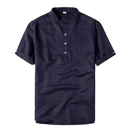 Camisa de Manga Corta con Cuello levantado de Color sólido para Hombre Moda Delgada Casual Simple Cómoda Tendencia básica Camisa Tipo Jersey L