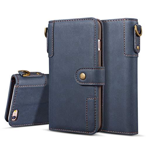 Funda para iPhone 8 y 7, diseño retro de piel de vaca con ranuras para tarjetas, billetera, soporte y cordón (negro)