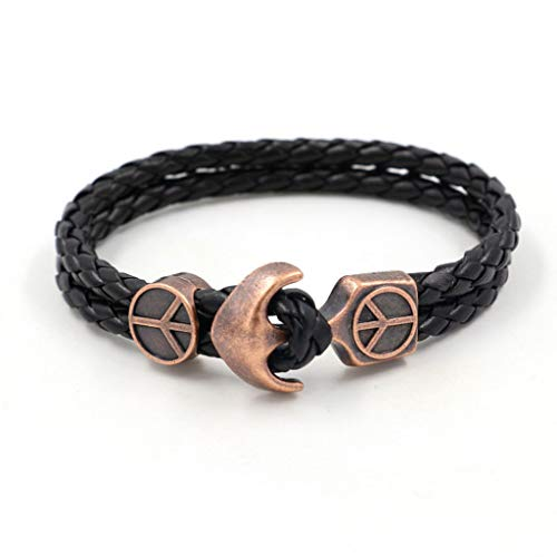 Retro Copper Bracelet, Leather Chain, Fitted Couple Men And Women General 2PCS,B