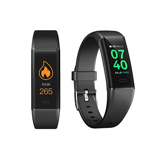 Greetuny Reloj Inteligente Unisex,Rastreador de Actividad física, Monitor de Ritmo cardíaco, Pulsera Inteligente, podómetro de presión Arterial para Android iOS (Negro)