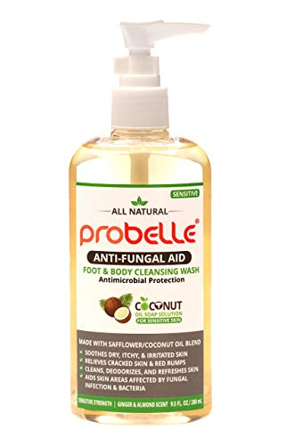 Antifungal Soap from Safflower and Pure Coconut Oil with Antimicrobial Protection. Aids Skin Areas Affected by Fungal Infection & Bacteria. Sensitive Strength, Ginger and Almond Scent. 9.5 oz  280 mL