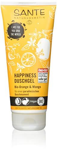 SANTE Naturkosmetik Happiness Duschgel, Tropischer Duft, Intensive Feuchtigkeit, Zieht schnell ein, Vegan, 200ml