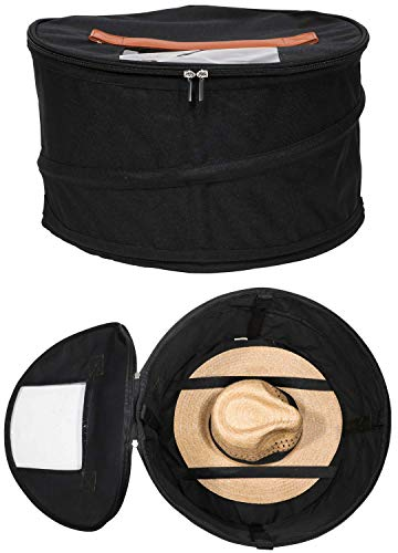 HappiBox Hat Storage Box | Stuffed Animal Toy Storage | Stackable Round Pop-up Container | Travel Hat Boxes for Women & Men | Closet Organizer w Lid | Dust Cover Cowboy Sun Beach Hats (Black, 1 Pack)