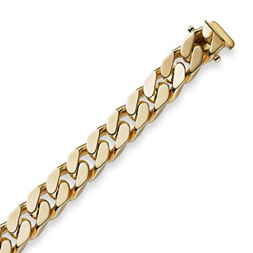 Schmuck-Krone-Goldschmuck, braccialetto in oro giallo 750 massiccio, 21 cm, 8 mm