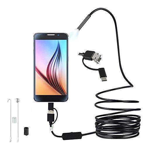 ATopoler Endoscopio USB 3 in 1, ultra sottile 5,5 mm, telecamera di ispezione HD con 6 LED regolabili IP67, cavo serpente impermeabile compatibile con Android Windows Tablet (5 m)