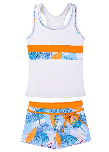 JerrisApparel Little Girls' Summer Two Piece Boyshort Tankini Kids Swimsuit (12-13/Tag Size 4XL, White)