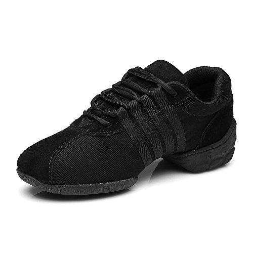 HIPPOSEUS Mujer Zapatillas de Baile, Lona, con Cordones,EST01A,Negro,EU 39