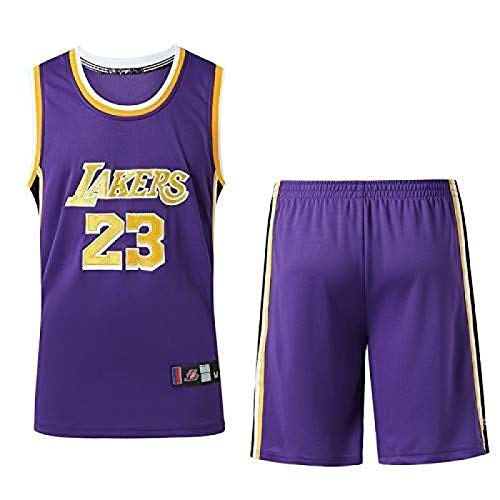HGTRF Conjunto de Camisetas de Baloncesto para Hombre - Lakers James # 23 Uniforme de Baloncesto Camisa Bordada de Verano Chaleco Pantalones Cortos M Purple