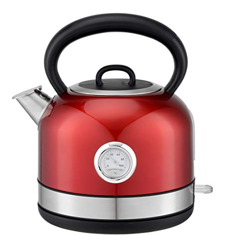 Electric Stainless Steel Kettle with spout cover, Tea and Coffee Maker with Removable Lime Scale Filters for Easy Cleaning, Quick and Efficient Boiling with Analogue Temperature Display, 1.7 Litre, Red