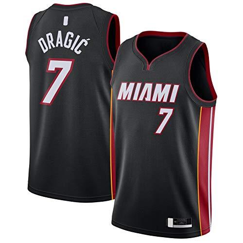 ANMOQI Negro - Dragic Embroidery Miami Ropa Goran Baloncesto Jersey #7 2020/21 Swingman Jersey Heat Icon Edition-L