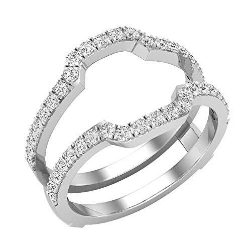 Dazzlingrock Collection Anillo de boda de 0,50 quilates (quilates) con diamante blanco redondo para mujer, anillo doble de 1/2 quilates, platino