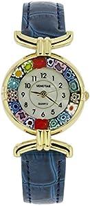 Reloj de pulsera con cristal de Murano y correa de piel, color azul