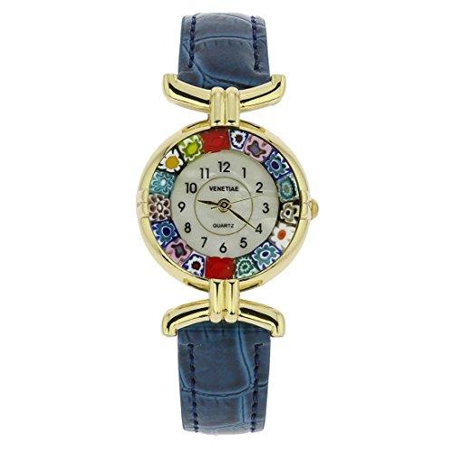 Armbanduhr Millefiori, mit Murano-Glas, mit Lederarmband–Blau