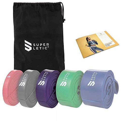SUPERLETIC Powerbands, Widerstands-Fitness-Bänder, Pullup und Resistance-Training, 5 Stärken, rot, schwarz, lila, grün und blau, mit Workout-Guide (3 - Heavy (Lila))