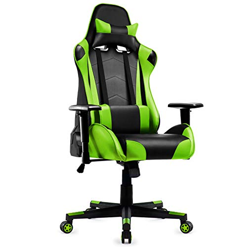 IntimaTe WM Heart Gaming Chair, Ergonomic Racing Chair,Adjustable High Back PC Gaming Chair with Arms and Back Support,Reclining Desk Chairs Office Chairs (green)