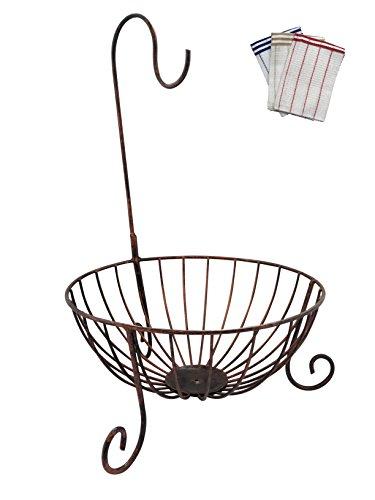 アイアン製 フルーツ バスケット かご バナナ スタンド 全3色 キッチンクロス 付き 【BWS-142】 (ブロンズ)