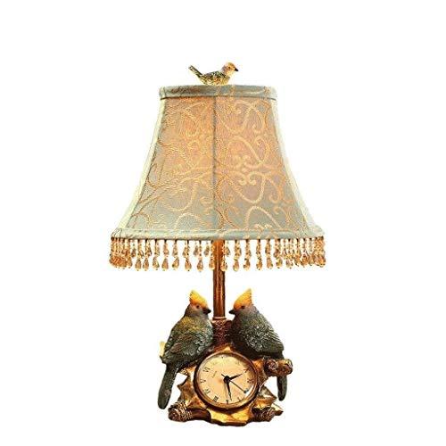 Lámparas de escritorio FHW Bird LED del Reloj de Tabla de la lámpara de la Sala de Resina lámpara de cabecera de Tabla Decorativa Lámpara del Dormitorio Estudio de Lectura Regulable de luz Tela P
