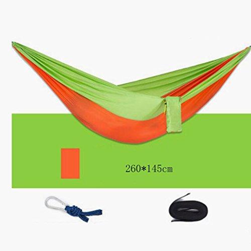 Hamac Outdoor hamac noir orange parachute toile hamac double homme hamac hamac balançoire loisirs voyage camping hamac (260 * 145cm)