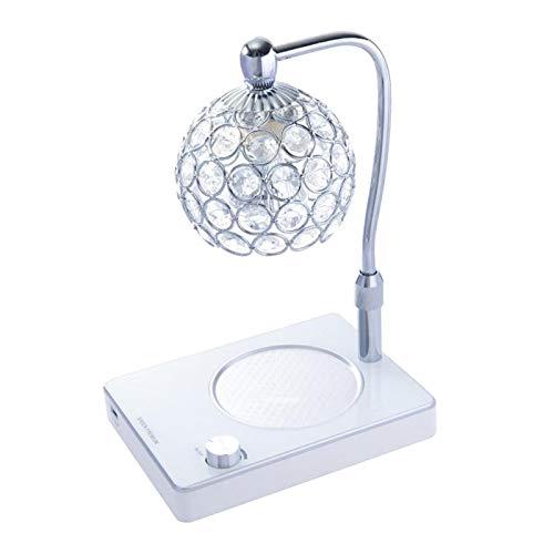 Gazechimp Lámpara de Aromaterapia Lámpara de Fusión de Cera Calentador de Velas Lámpara de Atenuación Decoración de La Mesita de Noche Luz de Noche Pantalla de - de Plata, Individual