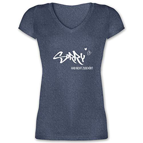 Statement - Sorry ich hab Nicht zugehört weiß - XL - Dunkelblau meliert - Spruch - XO1525 - Damen T-Shirt mit V-Ausschnitt
