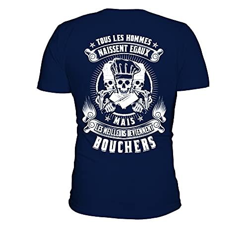 TEEZILY T-Shirt Homme Tous Les Hommes Naissent égaux mais Les Meilleurs Deviennent bouchers - Bleu Marine - 3XL