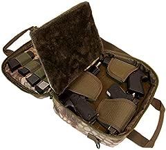 Pistol Case Range Bag for Handguns by FirstChoice Gear; 2-4 Gun Padded Tactical Handgun Soft Case, Lockable Zippers w/Padlock, 3 Mini-Holsters, 8 Mag Slots, 4 Pockets, Range Mat (Green Kryptek Camo)