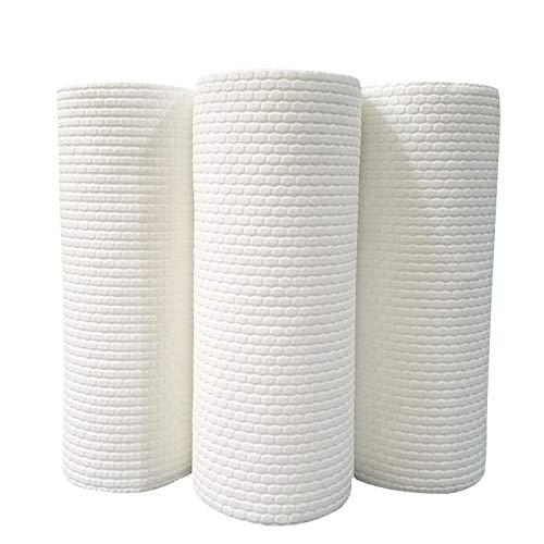 Toalla de cocina rollo de papel húmedo y seco trapos perezosos reutilizar lavavajillas paño no graso rollos de cocina desechables lavables trapos toalla 2Roll/100Pcs