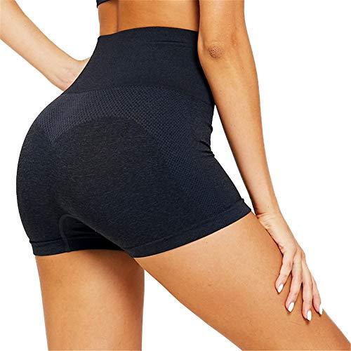 SotRong Damen Nahtlose Sportshort Kurz Leggings Hohe Taille Laufshorts mit Bauchkontrolle Sommer Kurze Hose Schwarz S