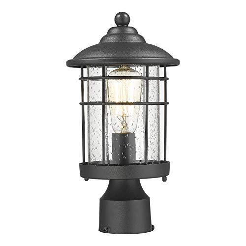 Emliviar Outdoor Post Light Waterproof Modern Lamp Post Lantern - Black Finish with Seeded Glass, 1803CW2-P-R