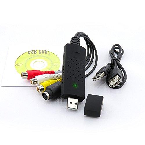 Tech Stor3 USB 2.0 Audio/Video Grabber Nuova Versione 2020, Compatibile con Windows 10 - Converte in Formato Digitale Le Videocassette - Scheda di acquisizione Video USB (Grabber Nero)