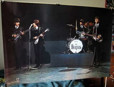 Beatles playing live in 1964 POSTER 31 x 21 inches John Lennon Paul McCartney George Harrison Ringo Starr (poster sent from USA in PVC pipe)