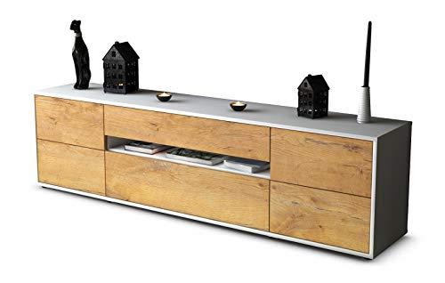 Stil.Zeit TV Schrank Lowboard Bjonda, Korpus in Weiss matt/Front im Holz-Design Eiche (180x49x35cm), mit Push-to-Open Technik und hochwertigen Leichtlaufschienen, Made in Germany