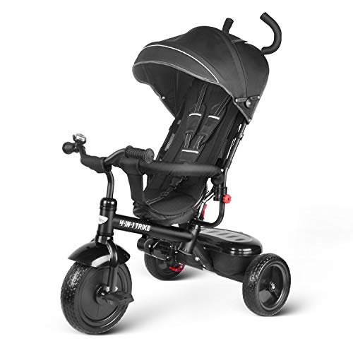 besrey Baby Trike 4 in 1 Kids Tricycle with Parent Handle Push Along Bike for Toddler 1-6 Years Old (black)