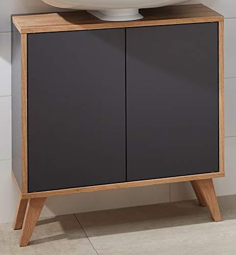 FACKELMANN Finn Badmöbel Set 2 Teile/Waschbeckenunterschrank mit Push-to-Open / 4 Holzfüße/Korpus & Front: Schwarz/Rahmendekor & Füße: Braun hell/Breite: 60 cm